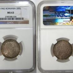 Romania 200 Lei 1942 NGC MS 63 RARA ! Piesa de colectie! - Moneda Romania