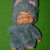 Colectii - Jucarie plus mascota Monchhichi (kiki) Nyamy Washino, 1979, rar, gri, 20cm