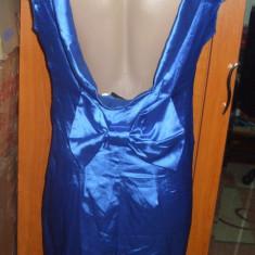 Rochie satinata scurta albastra sexy cu spatele gol funda NIKKA 42 L - Rochie de seara Zara, Culoare: Albastru, Fara maneca