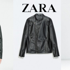 ZARA MAN Geaca Moto Barbati, Asimetrica neagra, Piele eco, Marime L/XL - Geaca barbati Zara, Culoare: Negru