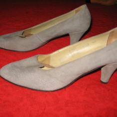 Pantofi dama, Piele intoarsa - PANTOFI piele naturala intoarsa, toc mediu, Mar 40, 5