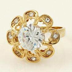 Inel placate cu aur - Inel placat cu aur 18k, presarat cu zirconiu, model 487