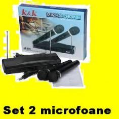 MICROFOANE set x 2 MICROFON WIRELESS si cu fir pt gradinita karaoke chef, etc