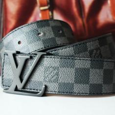 Curea Barbati Louis Vuitton, curea si catarama - LOUIS VUITTON Curea Piele Naturala Model Damier Graphite Accesoriu Fashion