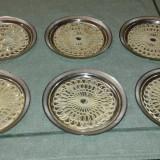 Suport de pahare argintat set sase piese 2+1 GRATIS