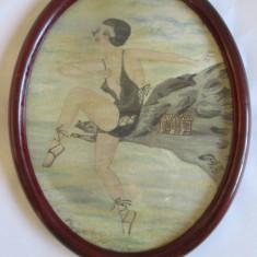 ACUARELA INRAMATA ART DECO 1931 SEMNATA INDESCIFRABIL - Tablou autor neidentificat, Portrete