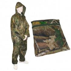 Costum Impermeabil Ploaie Pescuit Vanatoare cu Gluga Captusit cu Plasa + Husa - Imbracaminte Pescuit, Marime: XL, XXL, XXXL, XXXXL