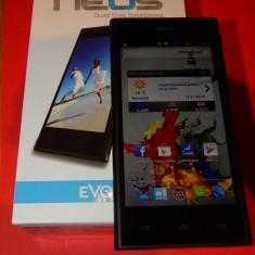 "Telefon mobil Dual SIM Evolio, Negru, 8GB, Neblocat, Dual SIM, Quad core - Telefon Evolio Neos Dual SIM, 4.5"" IPS, Quad Core, GPS, 8 GB - functional 100%"