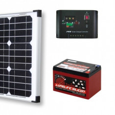 Sistem Solar Fotovoltaic Complet Pentru Iluminat Charger 12 V 20 W Lumina GRATIS - Panouri solare