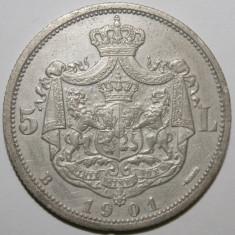 Monede Romania, An: 1901, Argint - OKAZIE!!! 5 LEI 1901 . CEA MAI MIC PRET PT. ACEASTA STARE .