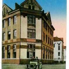124 - Maramures, SIGHET, High School, old car - old postcard - unused - 1917 - Carte Postala Maramures 1904-1918, Necirculata, Printata