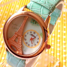 Ceas dama model Vintage, cadran auriu, Lux - elegant, Quartz, Metal necunoscut, Piele - imitatie, Analog