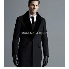 Palton Barbati Negru Lozenge Slim Fit Elegant Office Cambrat Guler Blana Iepure, Marime: 48, S/M, Casmir