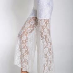 Pantaloni dama - CL371-2 Pantaloni largi cu dantela transparenta