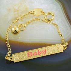 Bratara placate cu aur - Bratara Placata Cu Aur 18k model cu placuta, pt copii, cod 706