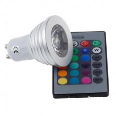 Bec LED RGB telecomanda lumina ambientala colorata 4W