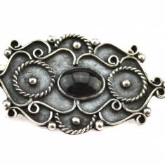 Brosa argint vechi, anturaj piatra onix negru, model retro, manufactura Mexic