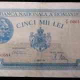 ROMANIA 5000 LEI 21 8 august 1945 SERIA 0001684 STARE F BUNA **, An: 1945