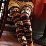 Colanti caldurosi Knitted Elastic Snowflake Nordic Reindeer Pants - Pantaloni dama, Marime: Marime universala, Culoare: Din imagine
