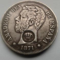 Monede Straine, Europa - C.015.SPANIA - 5 PESETAS 1871 ARGINT - CONTRAMARCAT