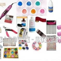 Mega Kit constructie unghii false cu gel cu 35 produse, Kit set unghii false