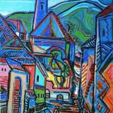 Tablou, Peisaje, Ulei, Abstract - Peisaj baimarean original ISTVAN KOZMA 1