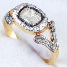 Superb inel argint 925 placat cu aur galben cu diamant natural de 5.5/3.5 mm! - Inel diamant