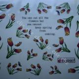 Tatuaj transfer pe baza de apa sticker pentru decorare unghii lalele BLE 2007 - Unghii modele
