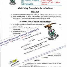 Matchday Press si Entry Pass : INVERNESS FC - ASTRA GIURGIU ( Europa League) - Bilet meci