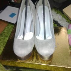 Pantofi mas 36 toc gros cul gri - Pantof dama, Piele intoarsa