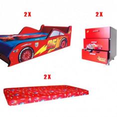 Mobila Disney Cars completa pt 2 camere copii - in stare exceptionala - Set mobila copii