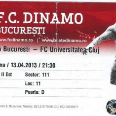 Bilet meci fotbal Dinamo Bucuresti - Universitatea Cluj (2013)