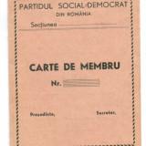 Carnet de Membru PSD anii 40 Partidul Social Democrat necompletat