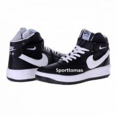 Ghete barbati - Ghete Nike air force one model casual negru-alb piele ecologica