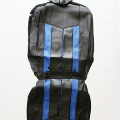 Huse scaune auto 661 imitatie piele Negru + Albastru ( 11piese ) - Husa Auto