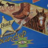 Colectii - Reclama bere Budweiser pe suport din tabla / Roundup !!!!