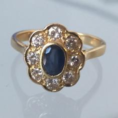 Inel diamant - Inel aur 18k cu safir si diamante!