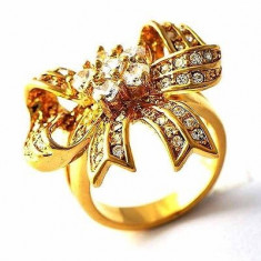 Superb inel 9K gold filled cu cristale Swarovski. Marimea 7 - Inel Swarovski
