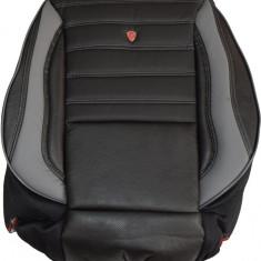 Husa Auto - Huse scaune auto imitatie piele perforata LUX Negru + Gri