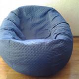 accesoriu mobila - Husa albastru/jeans pentru fotoliu puf, detasabila, lavabila, din material textil