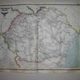 HARTA ROMANIA CAI FERATE, 1923/GRAVATA de V.VOILL /HASURATA PE PIATRA de K.DUFKA
