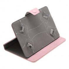 Husa Tableta 7 Inch Model X, Roz, Tip Mapa, Prindere 4 Cleme C89, 7 inch, Universal