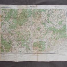 HARTA MILITARA GERMANA * ZONA VALENI DE MUNTE / BUCEGI ( 85X63 CM ) - 1940