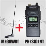 Statie radio CB President Randy II 4 Watt + Antena radio CB Megawat MW-47