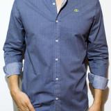 Camasa Lacoste - camasa bleu camasa barbat camasa slim camasa carouri fashion