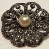Brosa argint Trandafir cu marcasite Vintage executat manual Splendid Superba