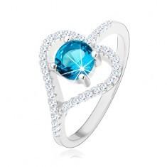 Inel de logodnă realizat din argint 925, contur inimă din zirconiu, zirconiu albastru - Inel argint