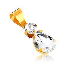 Pandantiv din aur galben 9K - piatră rotundă transparentă şi lacrimă din zirconiu - Pandantiv aur