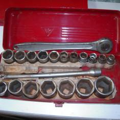 Trusa vintage 1/2 inch cu clicket, prelungitor 23 mm, tubulare 11-32 mm, FRANTA - Trusa scule auto