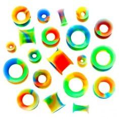 Tunel pentru ureche - flexibil, în culorile curcubeului - Piercing ureche